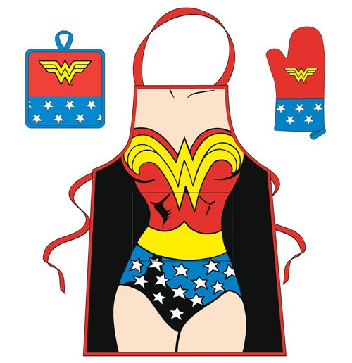 Buy Dc Comics Wonder Woman Body Silhouette Apron Oven Gloves And