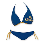 CORONA EXTRA Navy Blue Push Up Halter Loop Side Tie Bottom Bikini