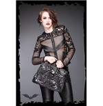 Net jacket with lace and imitation leath