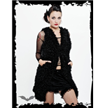 Long fuzzy black sleeveless jacket