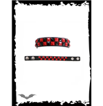 Bracelet - 2 row red/black checkerboard.