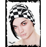Cap with black & white checkers & stars