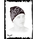 Black beanie with white spider web