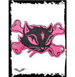 Patch: Large pink Kitty & Crossbones