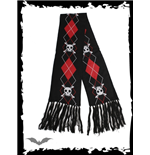 Black scarf, large red & white plaid