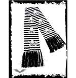 Black/white striped scarf SKULLS