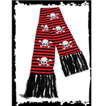 Black/red striped scarf SKULLS