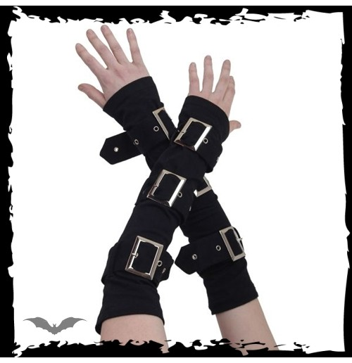 Black arm warmers with 3 large buckles
