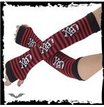 Arm warmers - black/red stripes, girly s