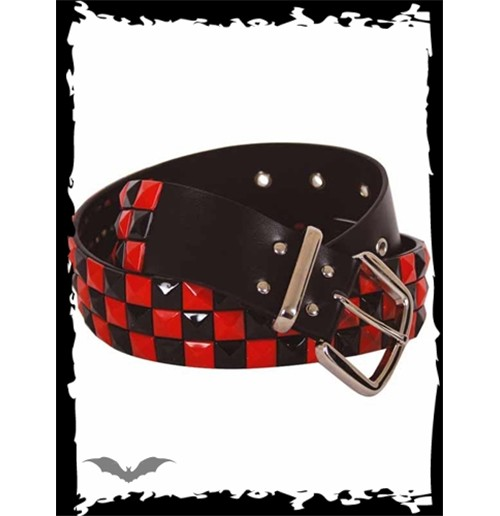 Red & black chessboard pattern belt