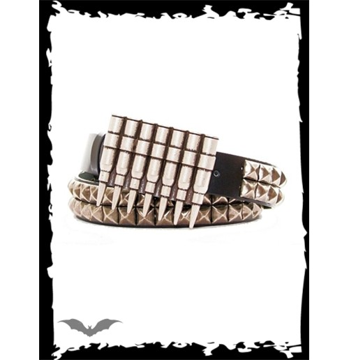 Cartridge belt buckle.3 rows metal studs