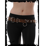 Brown Leopard Fur Belt with Skulls and R