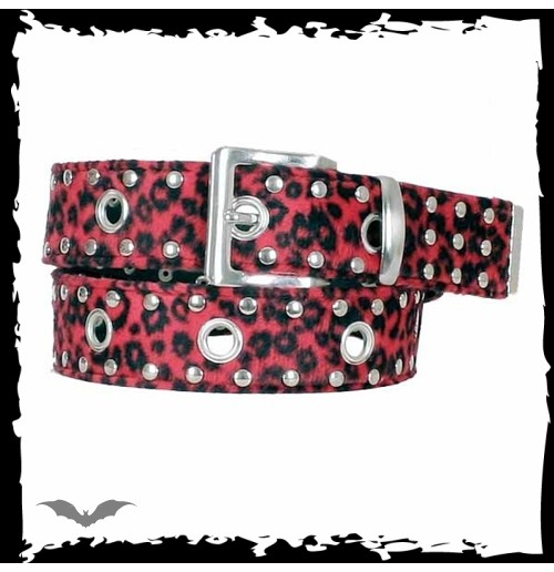 Red cheetah fur belt with metal studs