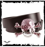 Black belt. Girly skull - pink glitter s