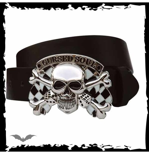 Black belt. Silver skull & crossbones bu