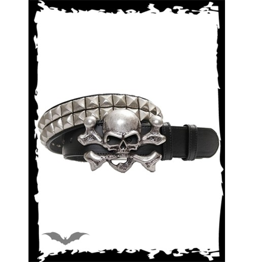 Old look metal skull with 2 rows studs