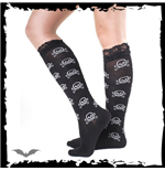 Sheer black socks with white skulls