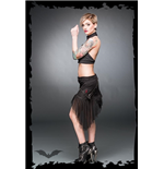 Asymmetric mini with tulle, zippers and