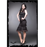 "Black skirt with bow and ruching ""cherry"