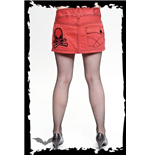 Short red jeans-style skirt with skull