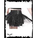 Black mini with print, lace & buckles