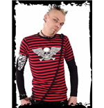 Black/red striped shirt, black sleeves
