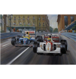 'Fight to the Finish' F1 print by Alan Fearnley, individually hand signed by Ayrton Senna