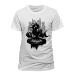 DC COMICS Batman Arkham Knight Gotham City Skyline T-Shirt, Unisex, Extra Extra Large, White