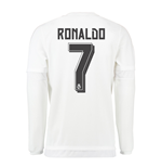 2015-16 Real Madrid Long Sleeve Home Shirt (Ronaldo 7) - Kids
