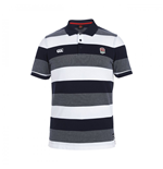 2015-2016 England Rugby Stripe Pique Polo Shirt (Navy)