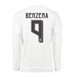 2015-16 Real Madrid Long Sleeve Home Shirt (Benzema 9) - Kids