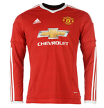 2015-2016 Man Utd Adidas Home Long Sleeve Shirt (Kids)