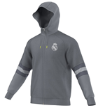 2015-2016 Real Madrid Adidas SF Hooded Zip Top (Grey)