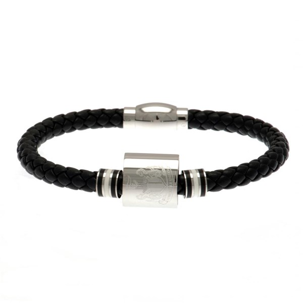 Newcastle United F.C. Colour Ring Leather Bracelet