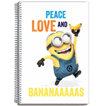 Minions Notebook A4 Peace Love Banana