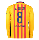 2015-2016 Barcelona Long Sleeve Away Shirt (A.Iniesta 8)