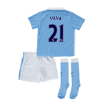 2015-2016 Man City Home Little Boys Mini Kit (Silva 21)
