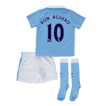 2015-2016 Man City Home Little Boys Mini Kit (Kun Aguero 10)