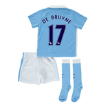 2015-2016 Man City Home Little Boys Mini Kit (De Bruyne 17)