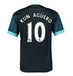2015-2016 Man City Away Shirt (Kun Aguero 10) - Kids