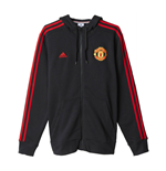 2015-2016 Man Utd Adidas Core 3S Hooded Zip (Black)