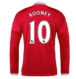 2015-2016 Man Utd Long Sleeve Home Shirt (Rooney 10) - Kids