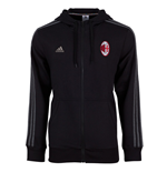 2015-2016 AC Milan Adidas Hooded Zip Top (Black)