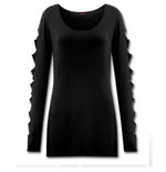 Metal Streetwear - Slashed Sleeve Boatneck Top