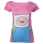ADVENTURE TIME Finn with Dots Women's T-Shirt, Extra Large, Pink