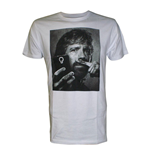 CHUCK NORRIS Selfie with Moustache Finger Men's T-Shirt, Small, White