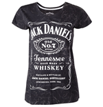 JACK DANIEL'S Classic Old No.7 Brand Logo with Marble Wash Women's T-Shirt, Medium, Grey
