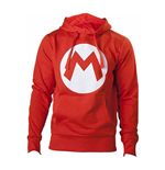 NINTENDO Super Mario Bros. Big Mario Logo Unisex Hoodie, Small, Red