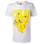 POKEMON Pikachu Pika! Raised Print Men's T-Shirt, Extra Extra Large, White