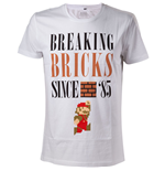 NINTENDO Super Mario Bros. Breaking Bricks Since '85 with Jumping Mario Men's T-Shirt, Medium, White